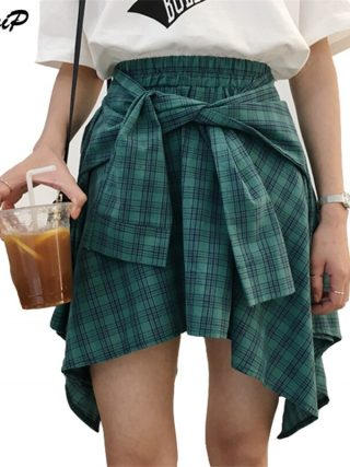 HziriP Cotton Fake Two Pieces-shirts Plaid Skirts Women Casual Stretch Waist Summer Midi Skirt 17 Fashion Asymmetrical Skirts
