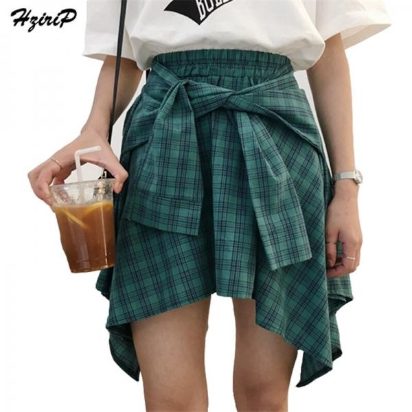 HziriP Cotton Fake Two Pieces-shirts Plaid Skirts Women Casual Stretch Waist Summer Midi Skirt 17 Fashion Asymmetrical Skirts