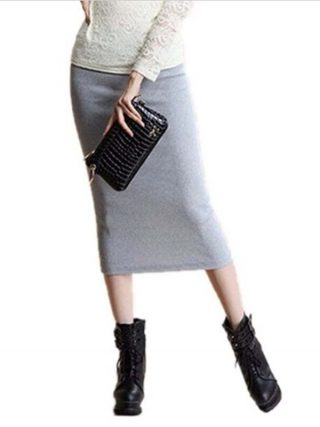 16 Winter Skirts Sexy Chic Pencil Skirts Wool Rib Knit Long Elastic Waist Skirt Package Hip Split Midi Skirt Maxi Vintage
