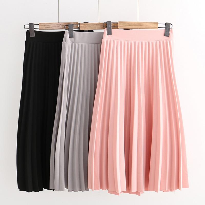 SETWIGG Spring Thick Chiffon Pleated Long Skirt Women Stretch Waist Grinding Pink Calf-length Pleated A-line Summer Skirt SG019 1