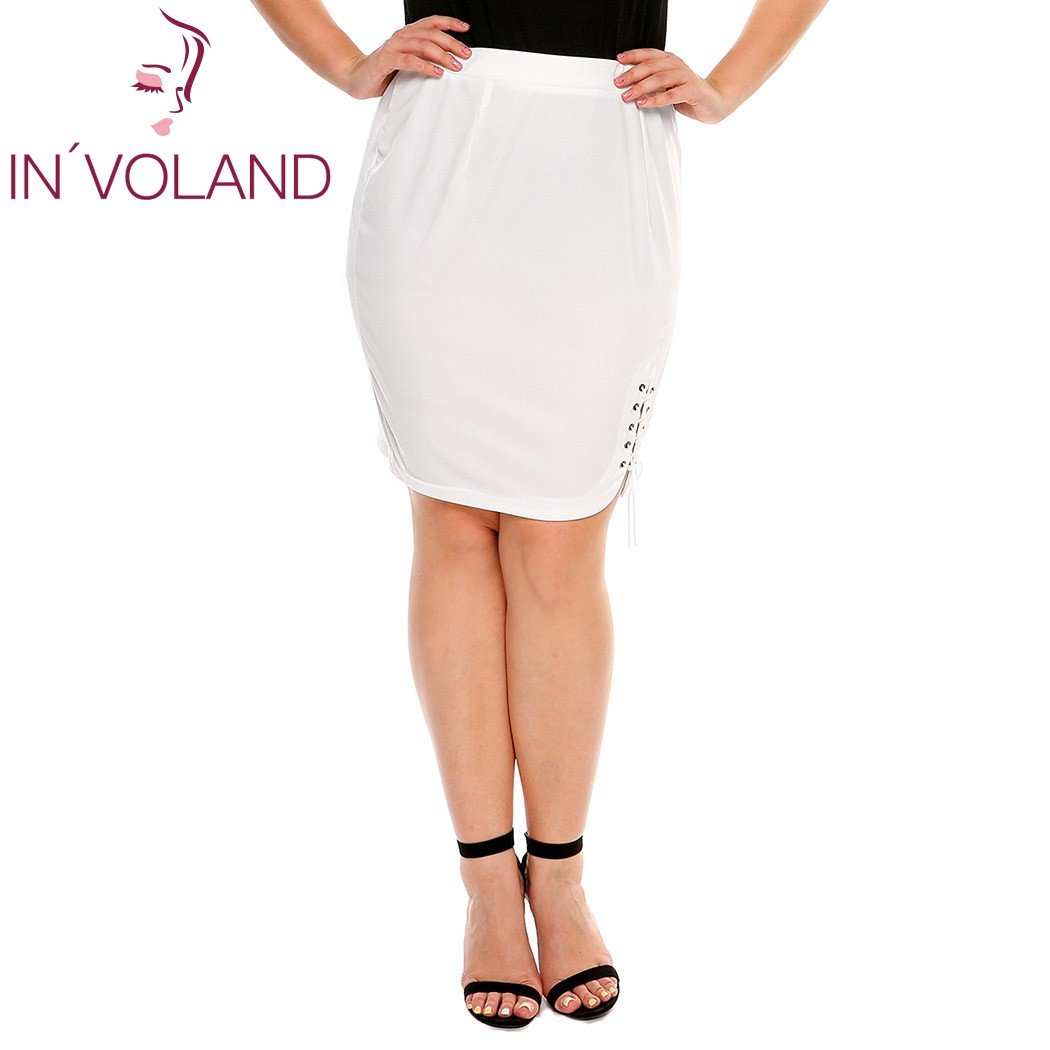 IN'VOLAND Women Short Skirt Summer Plus Size XL-4XL Solid Criss Cross Lace Up Stretch Brand High Waist Party Lady Split Skirt 3
