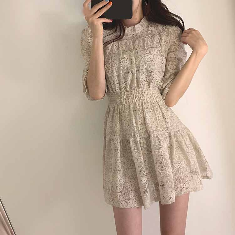 19 Summer Women Lace Dress O-neck Half Sleeves A-line Dress Solid Ruffle Lace Patchwork Dress Vestidos 2