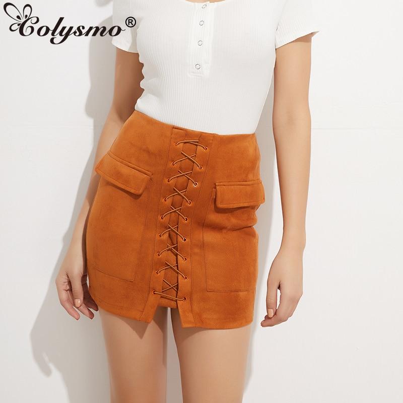 Colysmo Vintage Suede Skirt High Waist Pencil Skirt Winter External Pocket Faux Leather Skirts Womens Autumn Mini Skirt Saia New 1