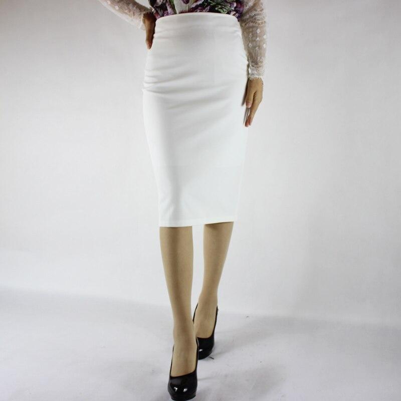 Jaderic Split Vintage Bodycon Skirt High Waist Women Knee Length Pencil Skirt Solid OL Office Elegant Skirts Womens 18 3