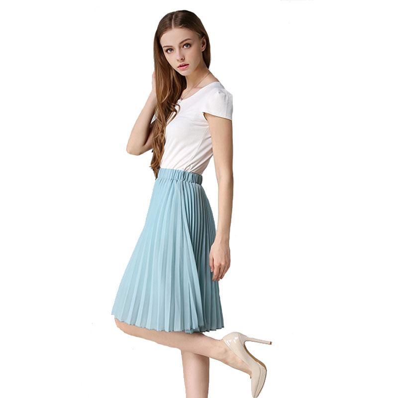 8 Colours Women Chiffon Pleated Skirt Vintage High Waist Tutu Skirts Womens Saia Midi Rokken 19 Summer Style Jupe Femme Skirt 2