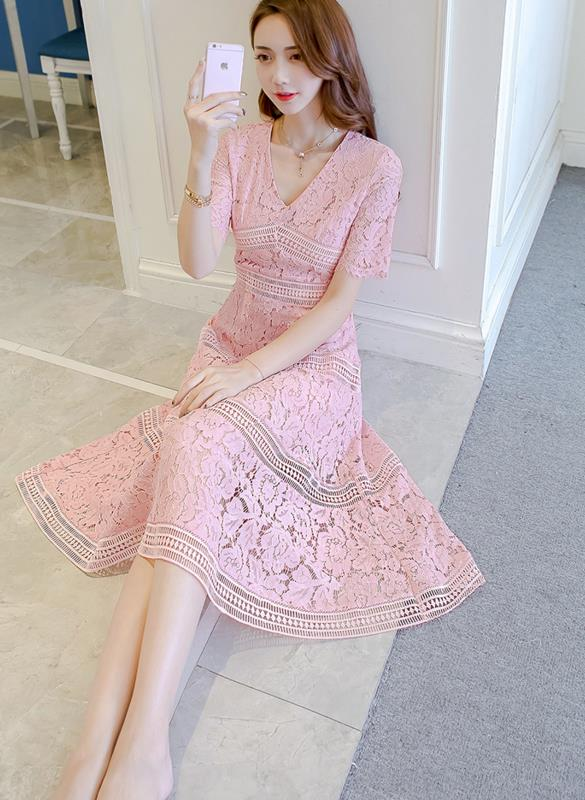 Free Shipping New Arrival Stylish V Collar Pure Color Lace Splicing Half Sleeve Woman Dress 1