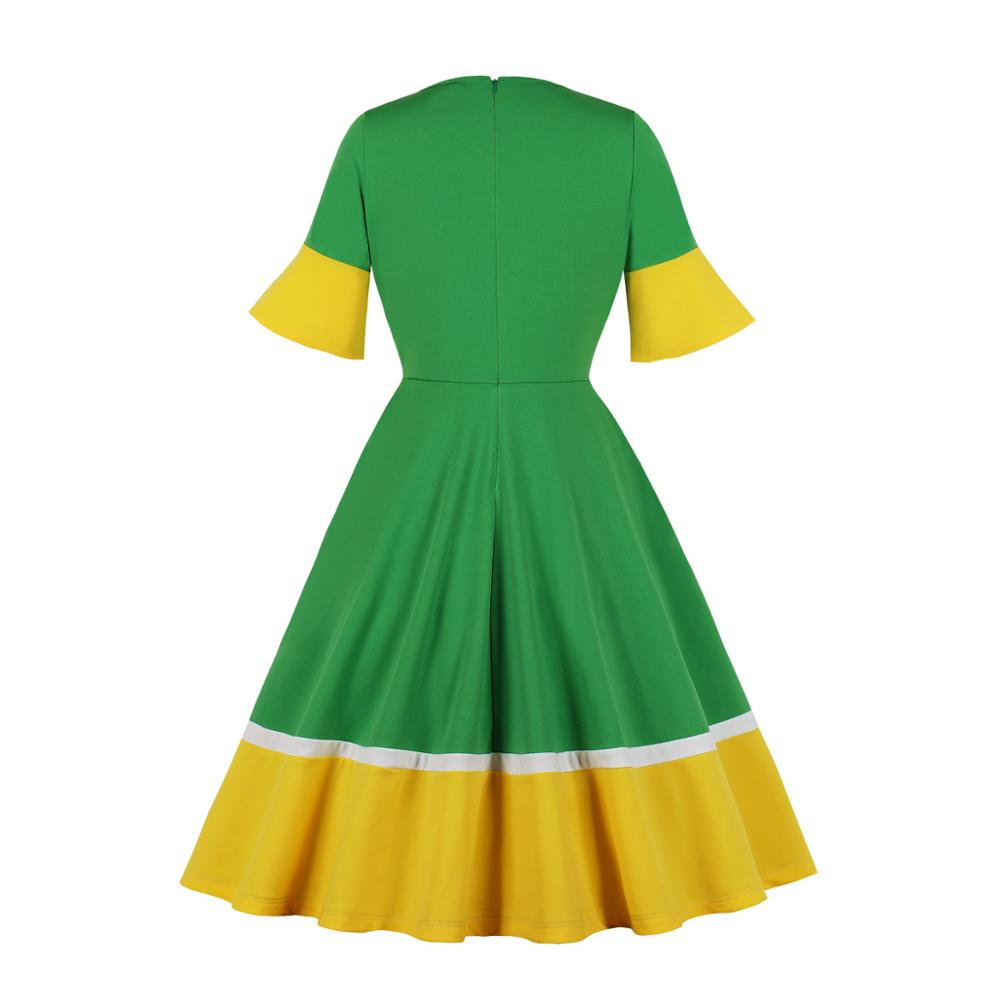 Casual Women v Neck Vintage Dress 1/2 Half Sleeve Flare Sleeve Solid Color Polyester Dress Green And Yellow 2