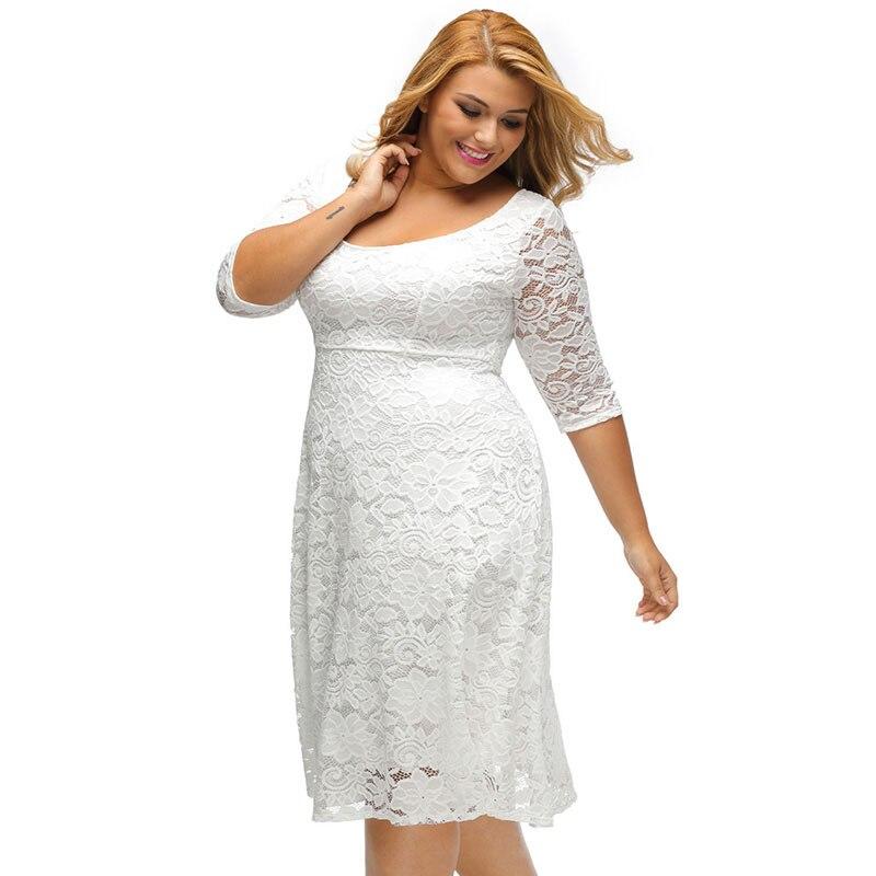 SEBOWEL Plus Size White/Black Floral Lace Curvy A-line Party Dresses Woman Large Size Half Sleeve Dress Female Formal Cocktail 2