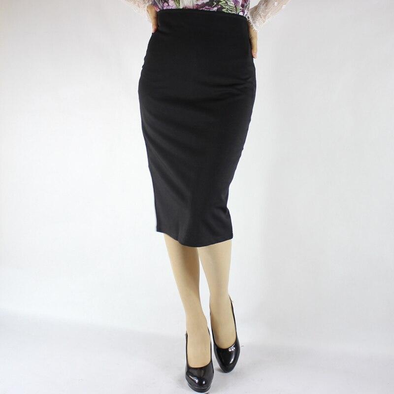 Jaderic Split Vintage Bodycon Skirt High Waist Women Knee Length Pencil Skirt Solid OL Office Elegant Skirts Womens 18 2