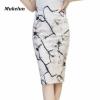 S-3XL Women Sexy Work Skirts Fashion Mid Calf Long Skirt Bodycon Elegant Open Split Stretch Office OL Print Pencil Skirt