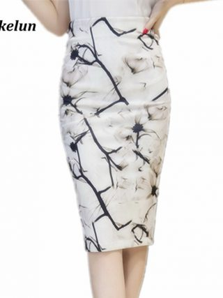 S-3XL Women Sexy Work Skirts Fashion Mid Calf Long Skirt Bodycon Elegant Open Split Stretch Office OL Print Pencil Skirt