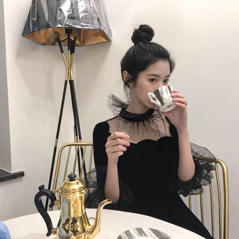 19 New Summer Dress Women Korea Chic Solid Black Ladies Mash Patchwork O-Neck Half Pull Sleeve Empire Vintage Fashion Dresses 3