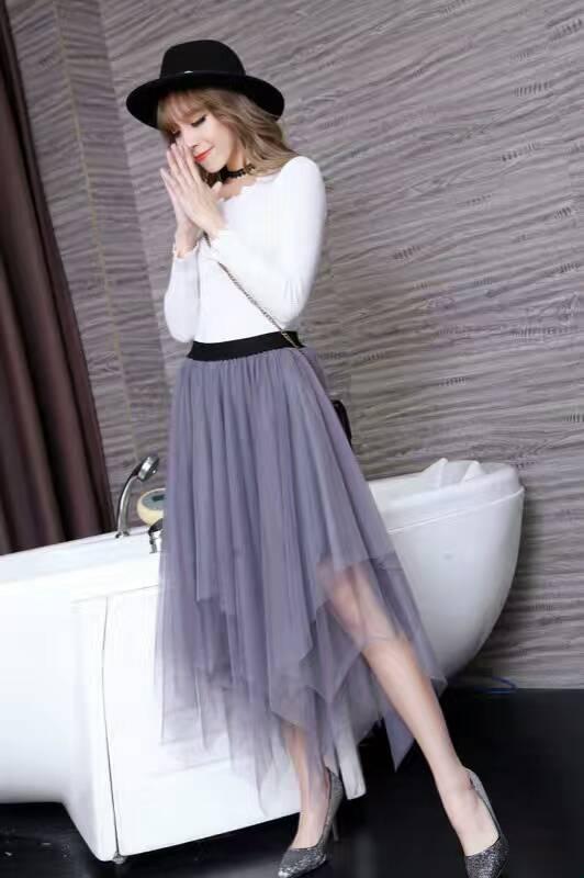 Women Tulle irregular Skirts New 19 spring 3 Layered Mesh Vintage High Waist Tutu Maxi Cake Saias skirts 3