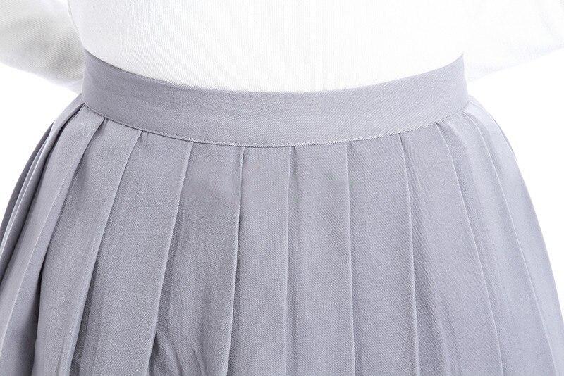 ROLECOS Plain Gray Girls Pleated Skirt School Patterns Preppy Sweet Style Women Skirt Summer CC34-QU-GY 3