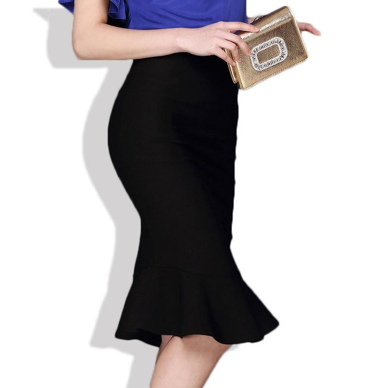 18 Women Ruffles Mermaid Skirt Female High Elastic Waist Slim Fishtail Skirts OL Formal Work Plus Size S-4XL 1