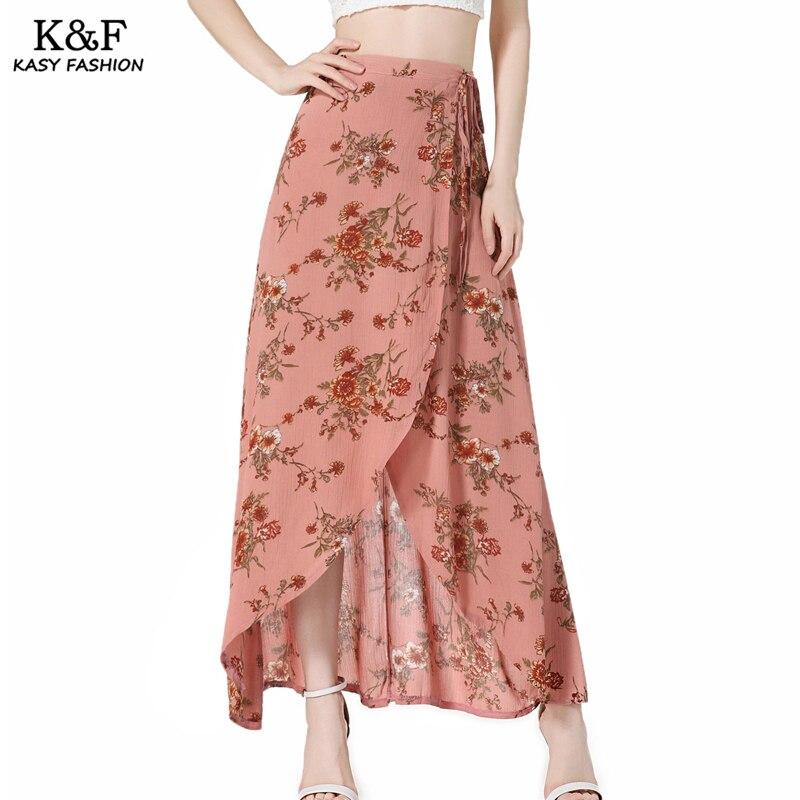 Women Lace Up Split Maxi Beach Summer Skirt 18 High Waist Bohemian Print Casual Asymmetrical Slit long Skirt Mujer Boho Skirts 3