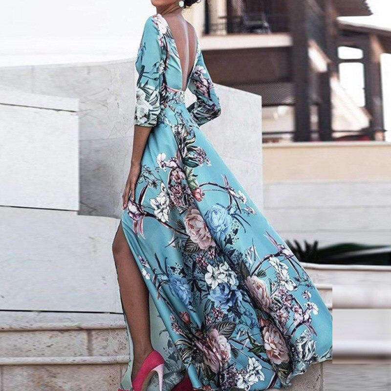 Women Boho Half Sleeve Backless Floral Dress Sexy Maxi Long Dress Party Beach Dress 2