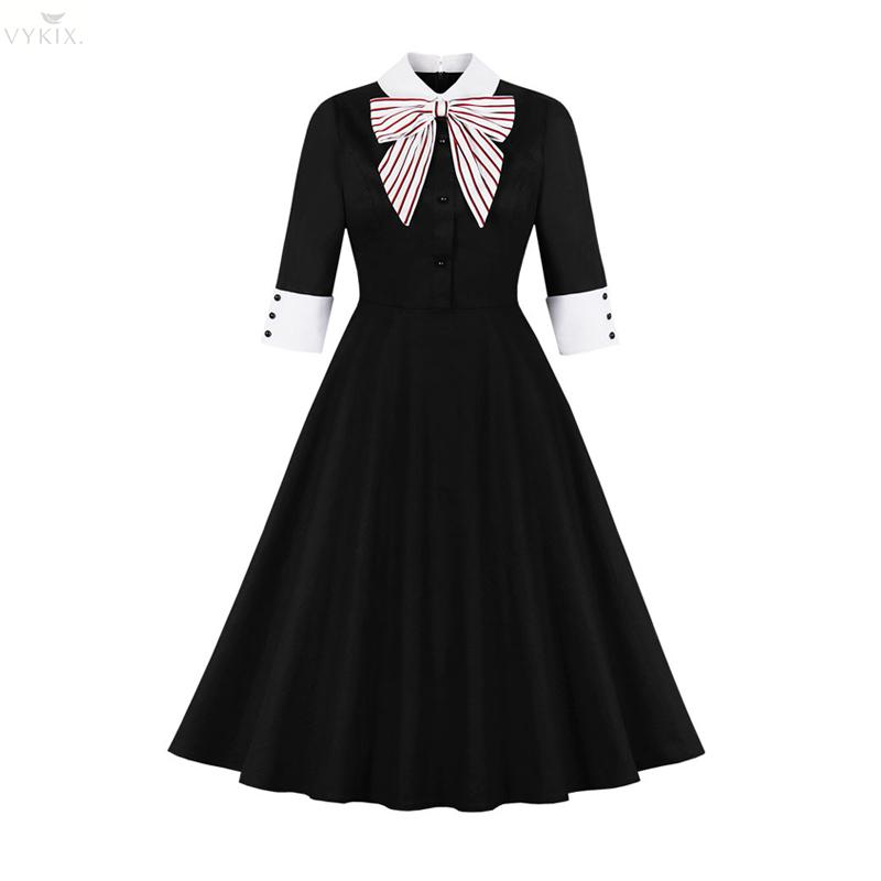Sweet Hepburn Womens Dresses Autumn Half Sleeves Polo Pin Up With Bow Patchwork Vintage Button Casual Knee-length Party Dresses 1