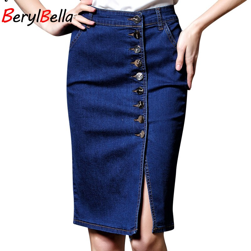 BerylBella Spring Women Skirt Casual Summer Style Ladies Skirts Blue Plsus Size S-6XL Stretch Denim Skirt Femininas Jeans Skirt 2