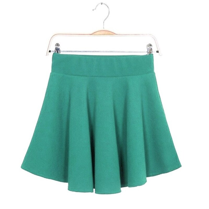 16 Summer Women Candy Color Stretch Waist Plain Skater Flared Pleated Mini Skirt Womens SolidBlue Short Skirts Wholesale 3