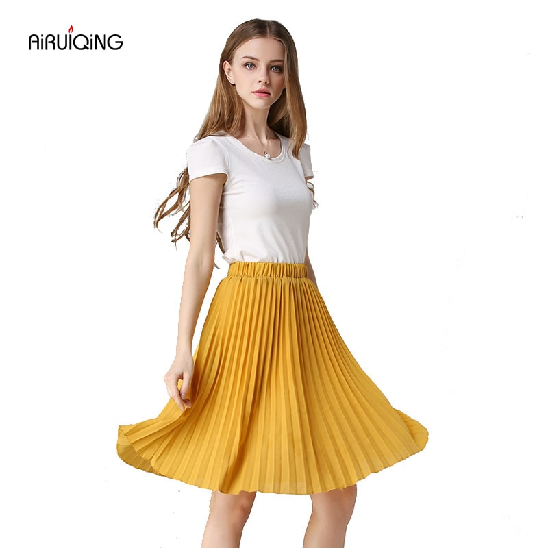 8 Colours Women Chiffon Pleated Skirt Vintage High Waist Tutu Skirts Womens Saia Midi Rokken 19 Summer Style Jupe Femme Skirt 1