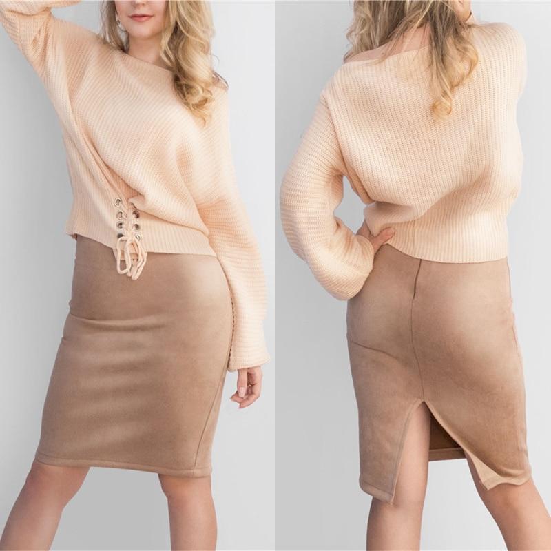 Neophil 19 Winter Women Suede Midi Pencil Skirt High Waist Gray Pink XXL Sexy Style Stretch Wrap Ladies Office Work Saia S1009 2
