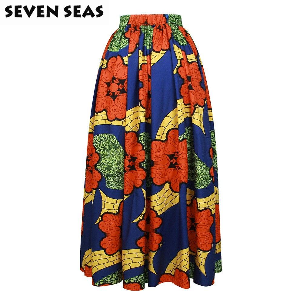 Elegant Long African Print Skirt Vintage Ethnic High Waist Maxi Skirts Jupe Longue Femme 3