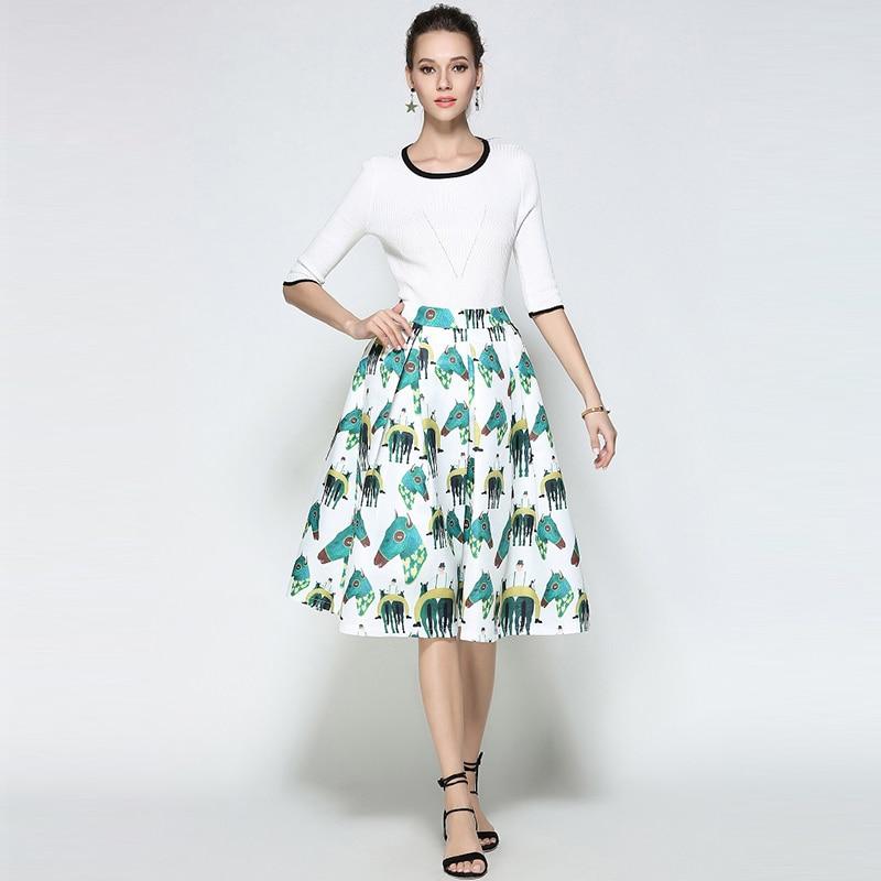 Willstage White Horse Printed Midi Skirts Women Elegant Retro Vintage Tutu Skirt fashion ball gown High Waist 18 Summer Spring 3