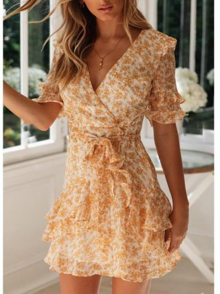 Tosheiny 19 Women Summer Sexy V Neck Half Sleeve Print Dresses Female Bohemian Backless Elegant Ruffles Mini Dresses TH0125-1