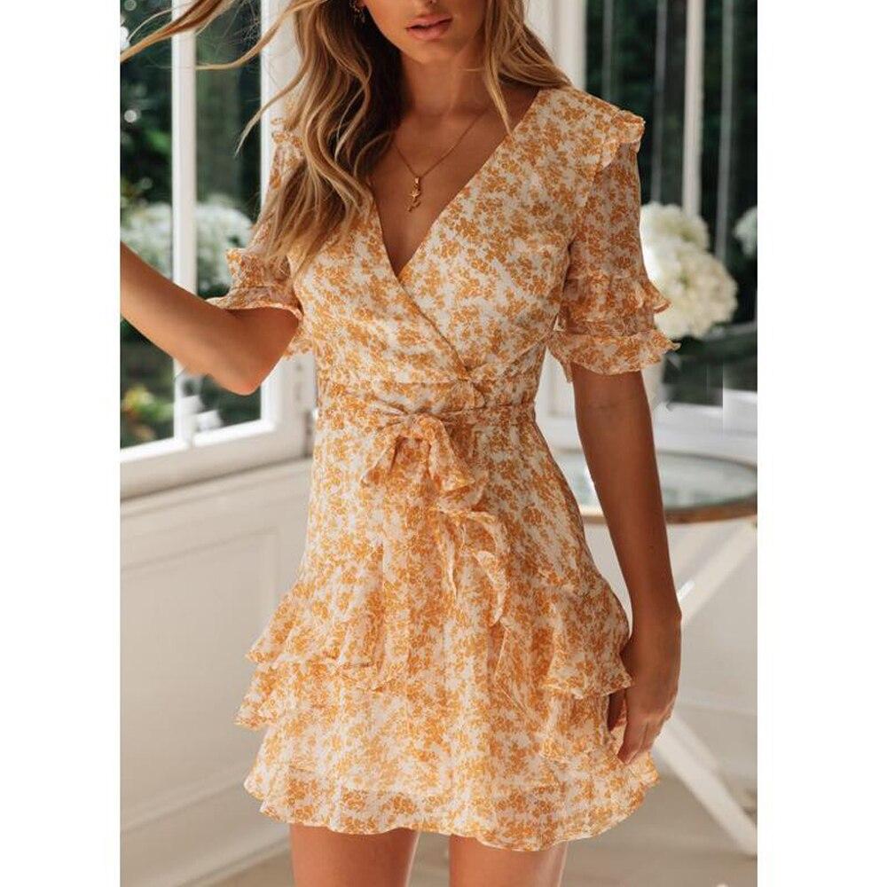 Tosheiny 19 Women Summer Sexy V Neck Half Sleeve Print Dresses Female Bohemian Backless Elegant Ruffles Mini Dresses TH0125-1