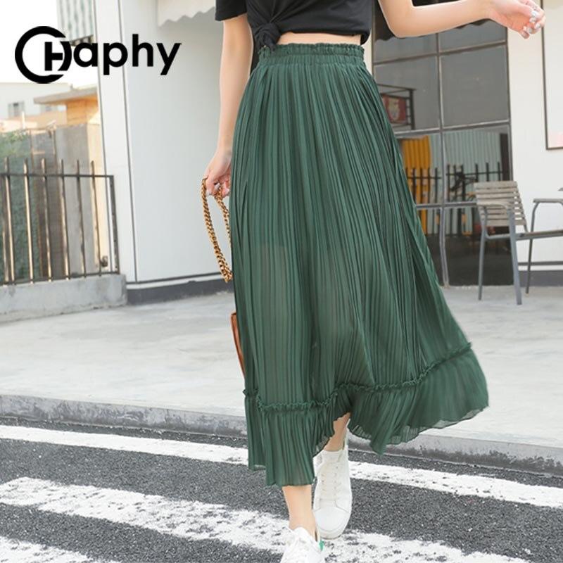 Solid Pleated Chiffon Ruffle Skirts High Waist Skirt 18 Women Fashion Long A Line Ruffle Chiffon Skirts Summer Maix Skirt 2