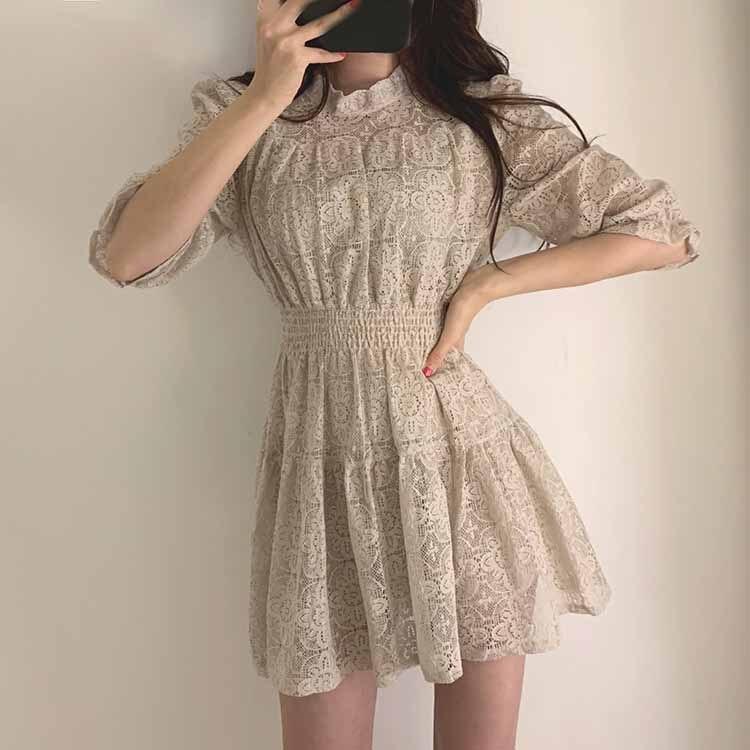 19 Summer Women Lace Dress O-neck Half Sleeves A-line Dress Solid Ruffle Lace Patchwork Dress Vestidos 3
