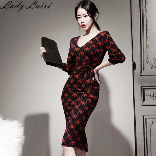 Spring Office Lady Printed bodycon Pencil Dress Women V-neck Half sleeve sheath Dresses Slim Fitted OL Work Wear Vestidos