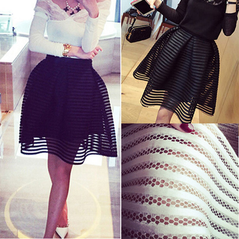 MWSFH  New Summer Autumn Sexy fashion skirt womens striped hollow-out fluffy skirt swing skirt ladies Black/White Ball Gown 2