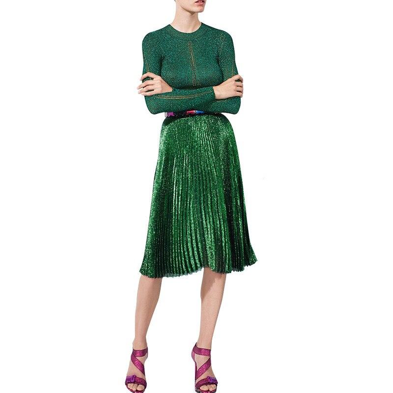 16 Summer New Fashion Vintage Metallic Bling Bling Glitter Gold Pleated Elastic Waist Women Flare Skater Midi Party Skirt 1