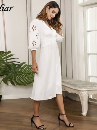 HELIAR Floral Hollow Out Sleeve V-Neck Dress Buttons Half Sleeve White Dress Women Autumn Elegant A-Line Dress For Women Clothes