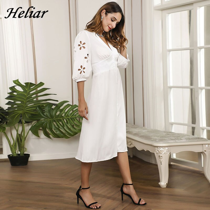 HELIAR Floral Hollow Out Sleeve V-Neck Dress Buttons Half Sleeve White Dress Women Autumn Elegant A-Line Dress For Women Clothes