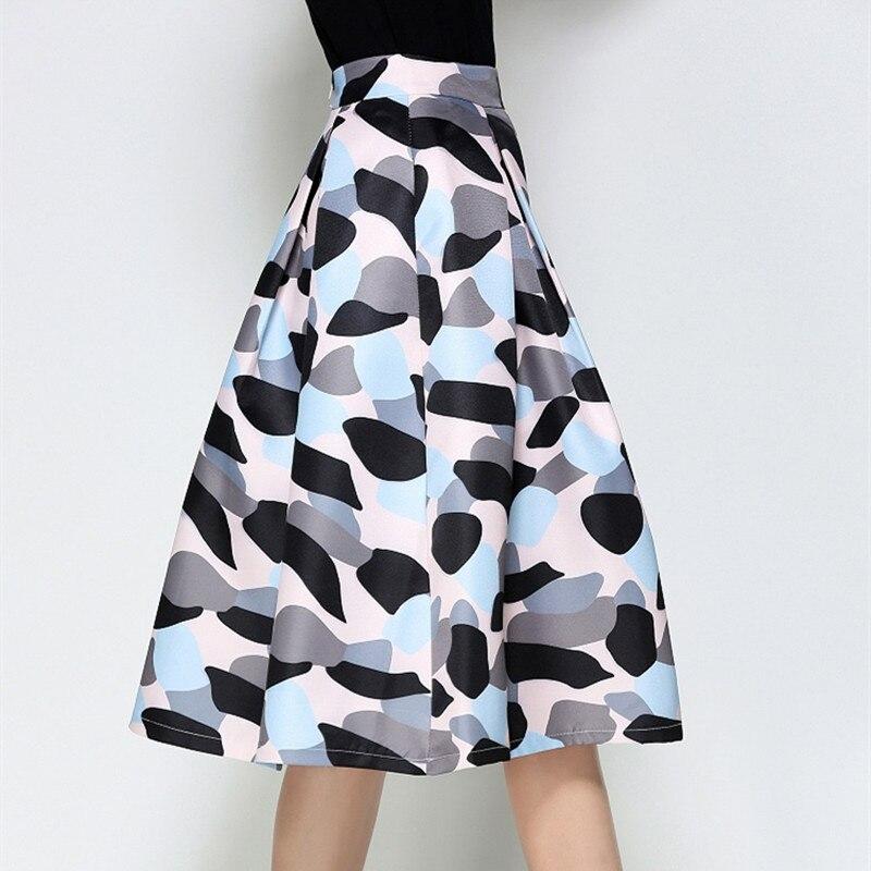 Midi Skirt Womens 18 Autumn Elegant Fashion Vintage Skirts High Waist Print Patchwork Jupe Femme Pleated Ladies Faldas Mujer 3