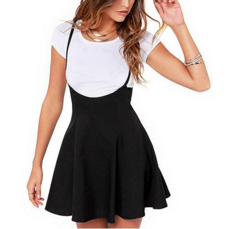 Women Black Skirt with Shoulder Straps Pleated Skirt Suspender Skirts Patchwork Color Female Cozy High Waist Mini School Skirts 1