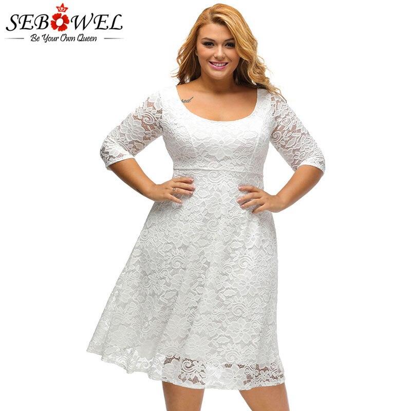 SEBOWEL Plus Size White/Black Floral Lace Curvy A-line Party Dresses Woman Large Size Half Sleeve Dress Female Formal Cocktail 1
