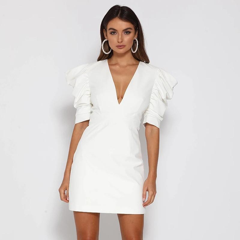 NEONBABIPINK White Party Dress Elegant Womens Sexy Dresses Deep V Neck Open Back Puff Hald Sleeve Mini Bodycon Dress D92-AE55 3