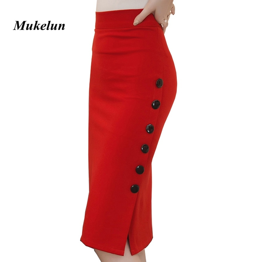 Plus Size 19 Fashion Women Work Midi Skirt OL Sexy Open Slit Button Slim Pencil Skirt Elegant Office Ladies Skirts Red Black