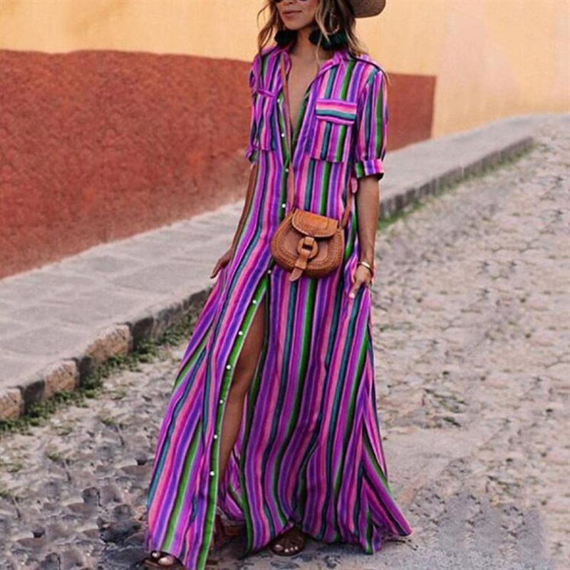 Women Long Maxi Dress Boho Half Sleeve Striped Dress Female Button Turn Down Collar Casual Dresses 18 Autumn Clothing 3