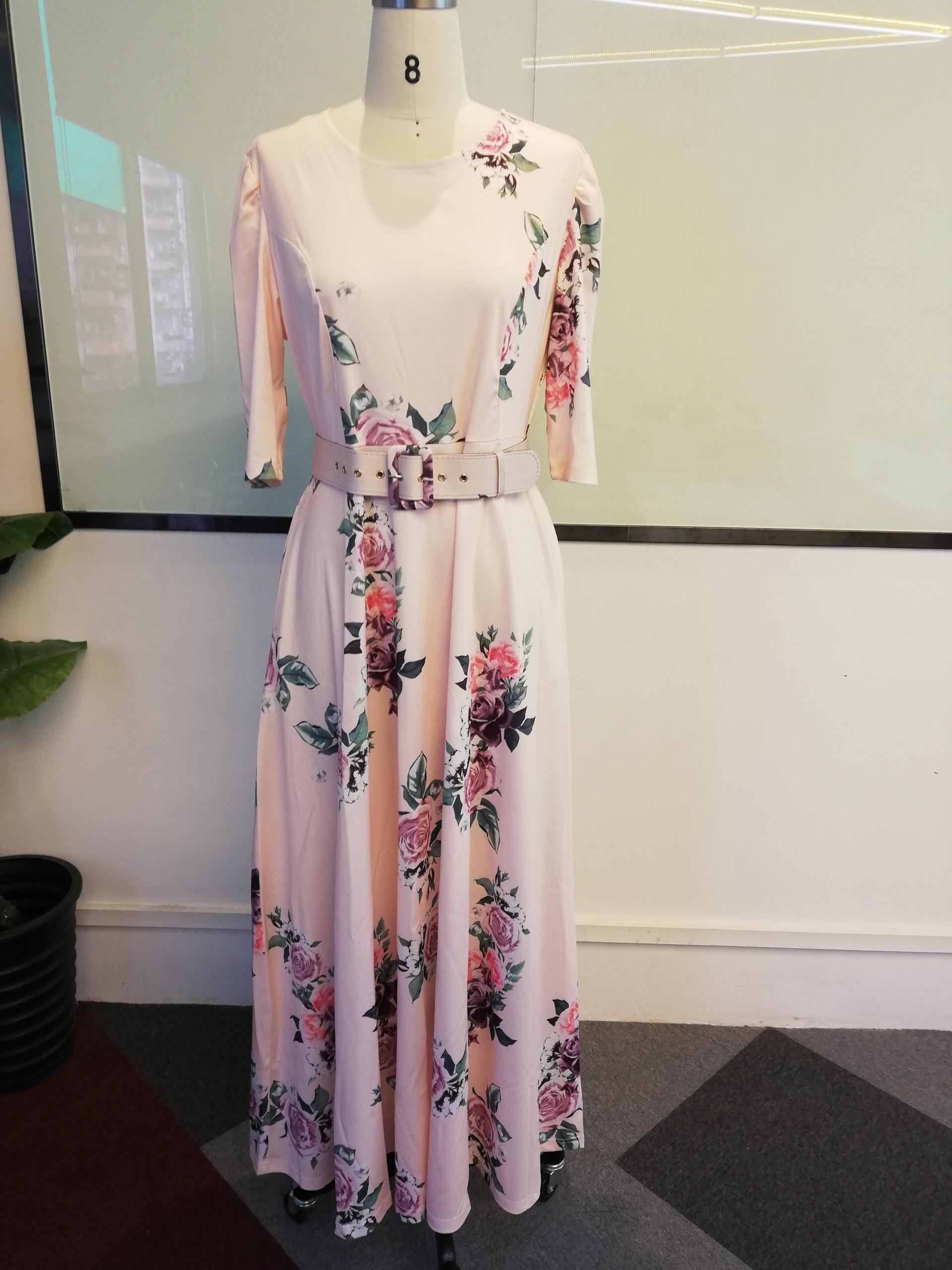 Women Summer Dress 19 Casual half Sleeve Long Dress Boho Floral Print Maxi Dress Elegant Dresses Belt High Waist Long Dresses 3