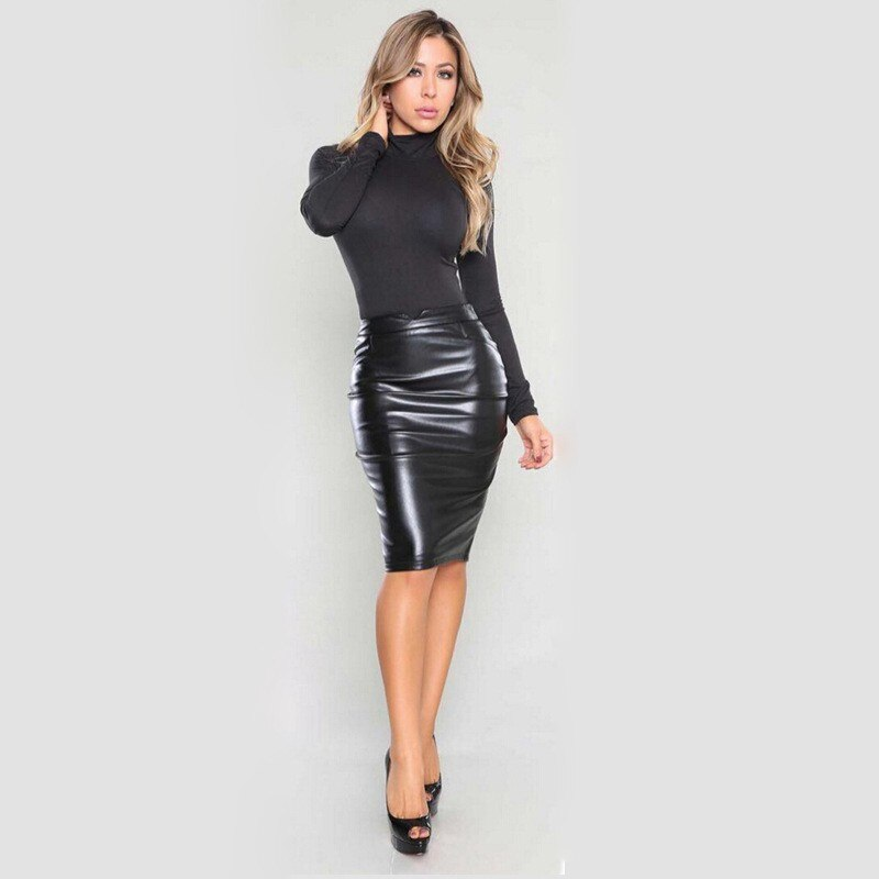 Women's Sexy Flocking Faux Leather Skirt Fashion Spring Autumn Plus Size Casual Ladies Pencil Knee-length PU Office Skirts SK42 2