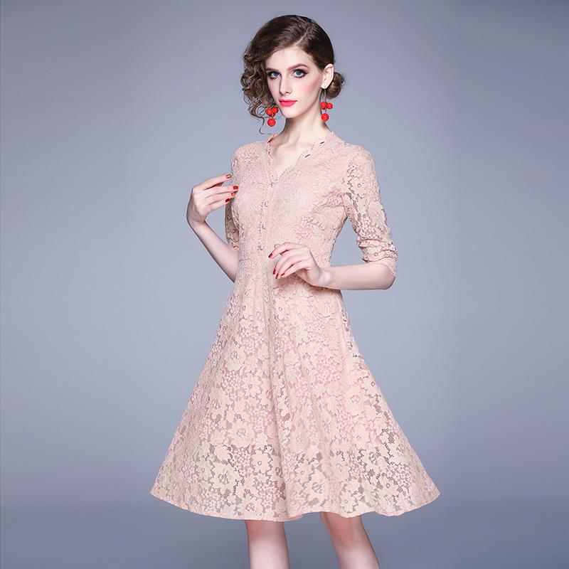 Women 19 Summer Dresses Hollow Out Women Half Sleeve Floral Crochet Casual Pink Lace Dress Femininas Vestidos 1