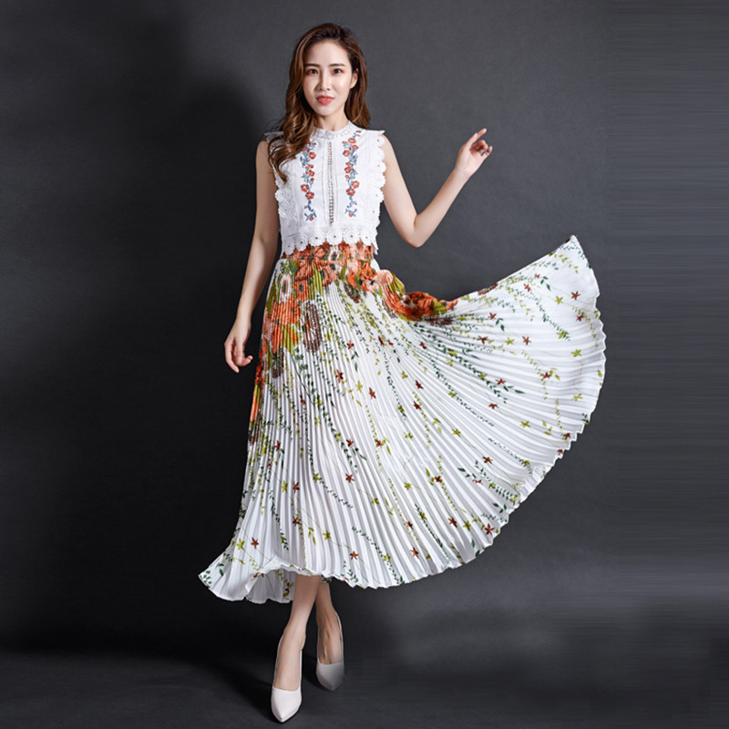 FLOWER SKY Summer Chiffon Floral Printed Female New Fashion Vintage Pleated Skirt Women Long Maxi Party Skirts Womens 1