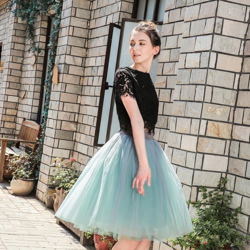 5 Layers 60cm Princess Midi Tulle Skirt Pleated Dance Tutu Skirts Womens Lolita Petticoat Jupe Saia faldas Party Puffy Skirts 2