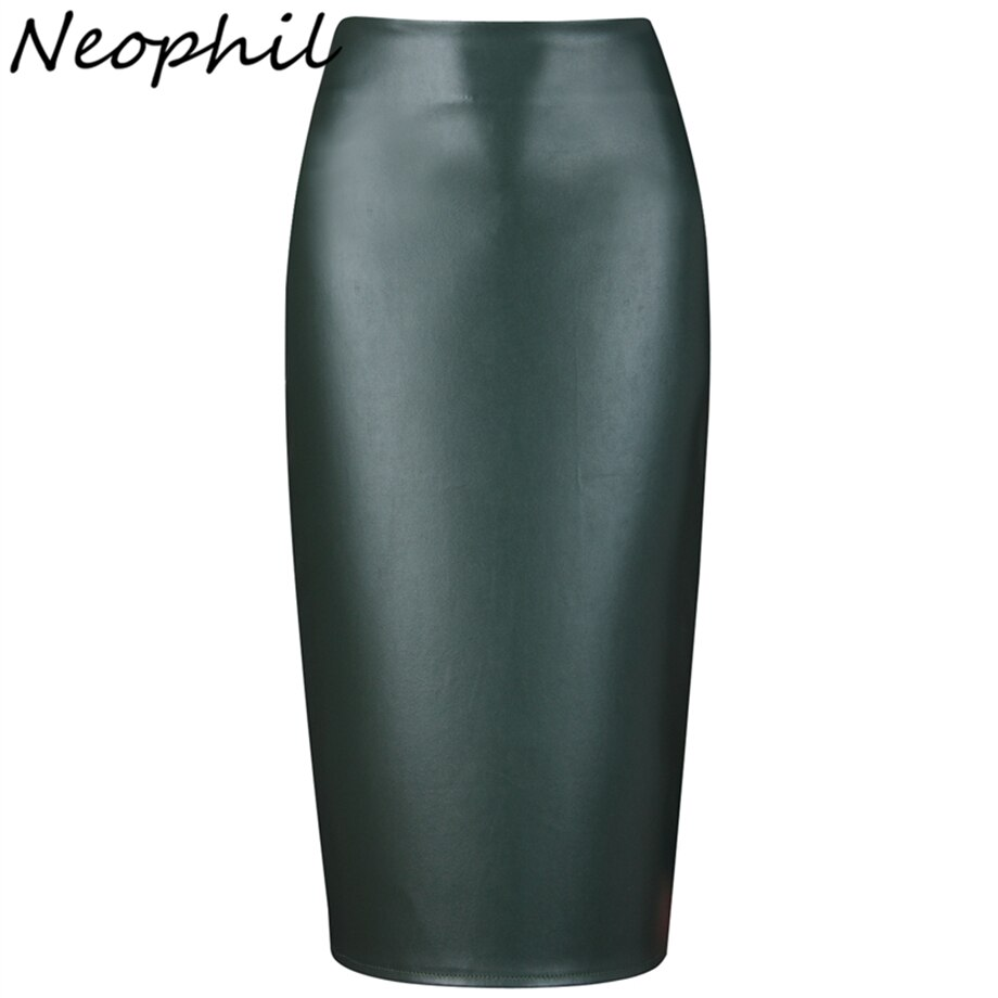 Neophil 19 Ladies Sexy Shining Faux Leather Midi Pencil Skirts High Waist Winter Elastic Bodycon Sexy Office Short Saias S0308