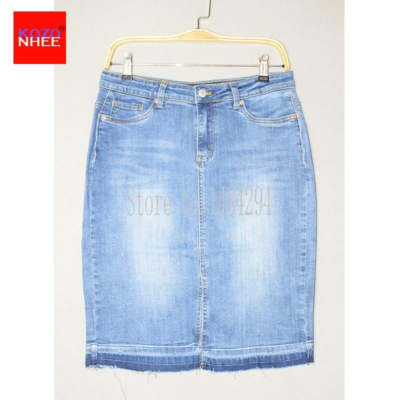 Fashion Denim Skirts Womens 17 Front Slit Summer Jeans Skirt Midi High Waist Women Skirt 3
